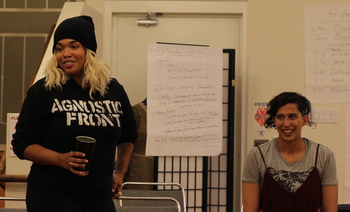 Brown Girl Surf on the mic -- Art3mis Prime & Mira Manickam-Shirley (photo: lisahunter)
